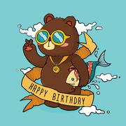 Hand Drawn Cool Bear Birthday Greeting Card - stock illustration