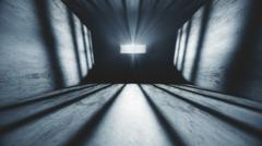 Lightrays Shine through Rails in Demolished Solitary Confinement Prison Cell - stock illustration