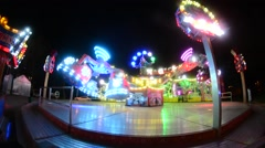 Night carousel in the bright lights. - stock footage