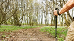 4K. Adult Man hiker on  green spring forest road. Healthy lifestyle.  Stock Footage