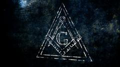 The Free Masonic Grand Lodge Sign and Illuminati Secret Characters in an Abst - stock illustration