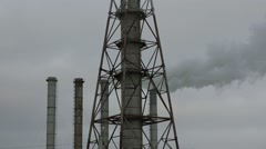 Fuming factory chimney against the evening sky. Ukraine - stock footage