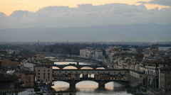 Arno River and Ponte Vecchio, Florence, Italy, EU, Europe Stock Footage