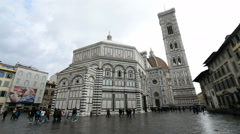 Tourists on the Piazza del Duomo in the Florence, Italy. Stock Footage