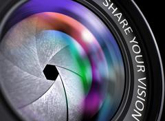 Share Your Vision Concept on Front of Lens Stock Illustration