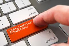 Biotechnology Consulting on Keyboard Key Concept - stock illustration