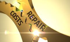 Repair Costs on the Golden Metallic Cog Gears Stock Illustration