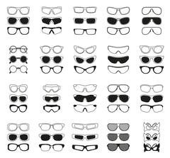Fashionable glasses simple black vector icons set Stock Illustration