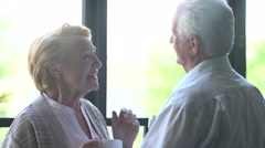 loving and happy elderly couple in a modern apartment. they talk, drink tea and - stock footage