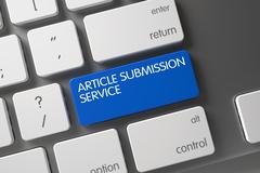 Blue Article Submission Service Button on Keyboard Stock Illustration