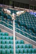 Surveillance cameras controlling stadium - stock photo