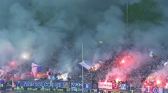 Impressive choreography of football fans with smoke and fireworks Stock Footage