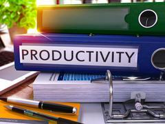 Blue Office Folder with Inscription Productivity Stock Illustration