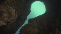 Underwater cave in the sea Stock Footage