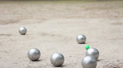 Boules At The Petanque Court Stock Footage
