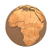 Africa on wooden planet Earth - stock illustration