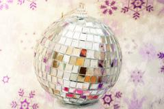 Winter disco ball, illustration with colored pencils - stock illustration