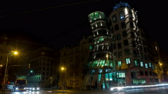 Night time lapse of the Dancing House in Prague UltraHD Stock Footage