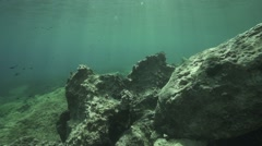 Underwater movement rocky sea bottom Stock Footage
