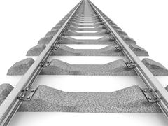 3D Illustration of a straight railroad track isolated - stock illustration