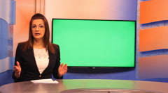TV presenter happy mood ,Green Screen  background Stock Footage