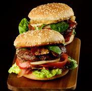 Two Tasty Hamburgers - stock photo