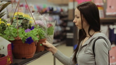 Young pretty girl chooses cactus in garden center/supermarket - stock footage