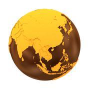 Southeast Asia on chocolate Earth Stock Illustration