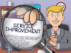 Service Improvement through Lens. Doodle Style Stock Illustration