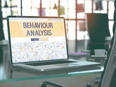 Laptop Screen with Behaviour Analysis Concept - stock illustration