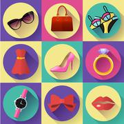 Fashion and Clothing Icons set. Flat 2.0 vector design style with long shadow - stock illustration