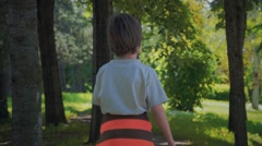 Boy and Dog Walking Stock Footage