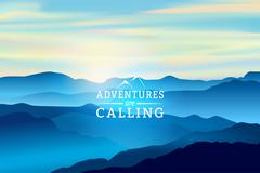 Blue Sunrise in the mountains - Vector Background. Sign Adventures are calling - stock illustration