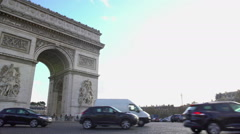 Triumphal Arch in Paris, grand monument of neoclassical architecture in France Stock Footage