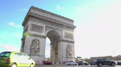 Rush hour in Paris, intensive traffic near tourist attraction in France capital Stock Footage