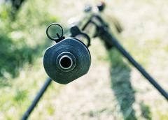Close up photo of heavy sniper rifle from World War II, shooting position Stock Photos