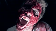 A man with terrible bloody make-up Stock Footage