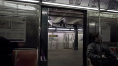 Subway doors closing at West 4th st train station - platform in NYC Stock Footage