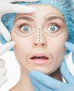 The beautiful woman before plastic surgery operation of cosmetology - stock photo
