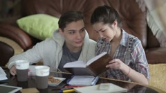 Female student is teaching her friend. - stock footage