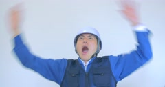 Japanese construction man safty alarm emergency  Stock Footage