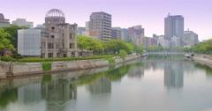 Hiroshima dome in Hiroshima city, Japan beautiful river  - stock footage