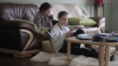 Students reading the books. Stock Footage