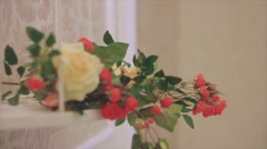 Bouquets of Roses Are on the Shelf Stock Footage