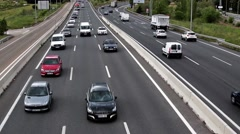 Road with cars from top slow motion - stock footage