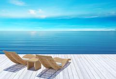 Beach lounge, sundeck over blue sea and sky, summer holiday vacation concept Stock Illustration