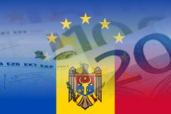 eu and moldova flag with euro banknotes - stock illustration