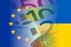 Eu and ukraine flag with euro banknotes Stock Illustration