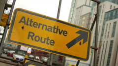 Alternative Route traffic sign. Stock Footage