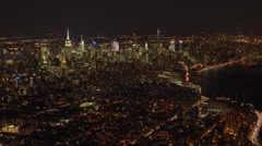 city panorama view from helicopter at night - stock footage